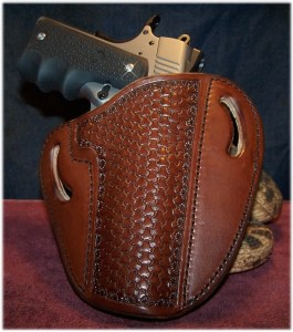 The SR1911 resting Comfortably in the OWB Holster from Leather Creek Holsters