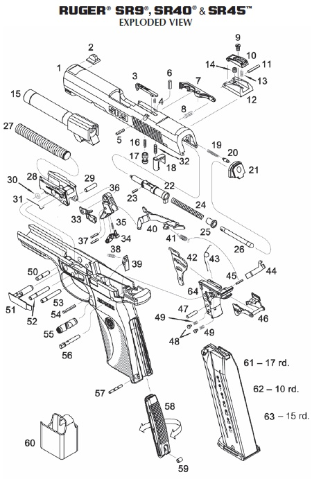 ruger sr40c parts schematic