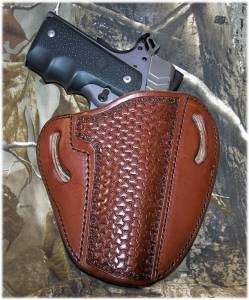 Leather Creek Holster for OWB Carry. Note That Holster is for a Government Model 1911 and Affords Full protection for Government and Commander-size 1911 Pistols
