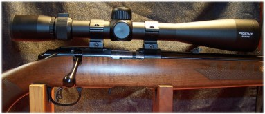 Nikon 4-12x40 PROSTAFF Rimfire II scope with Leopold scope rings and Weaver top mount bases.