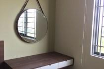 Gương tròn dây da bàn trang điểm