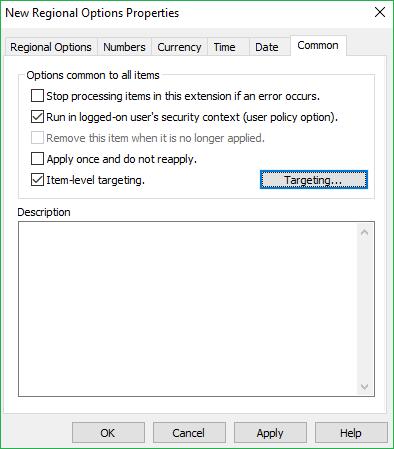 Regional Options Common tab