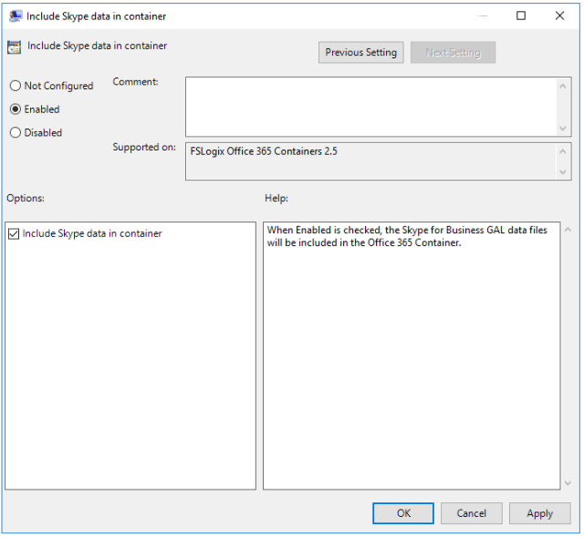 FSLogix Include Skype data in container Setting