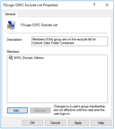 FSLogix ODFC Exclude List User Group
