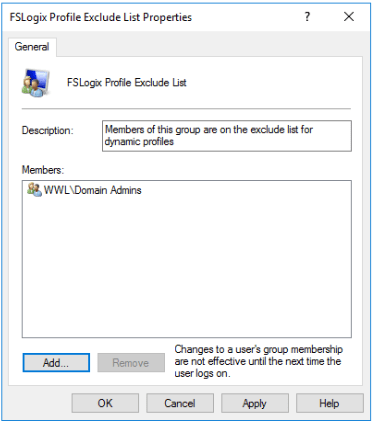 FSLogix Profile Exclude List User Group