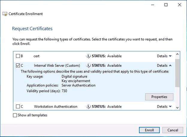 Request Certificate Enroll