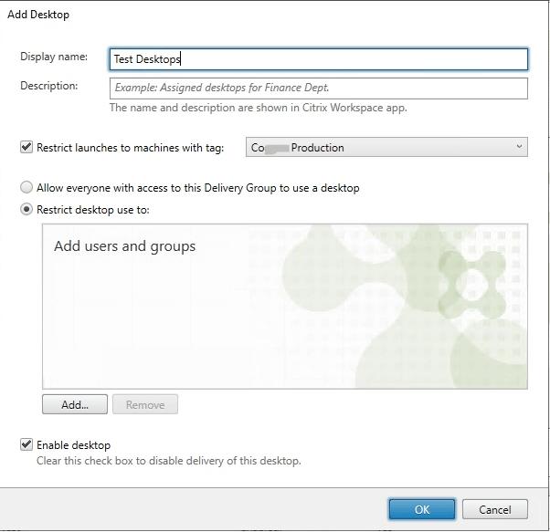 Delivery Group Desktops 2