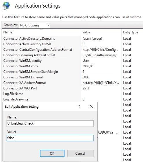 IIS Director Application Settings UI.EnableSslCheck