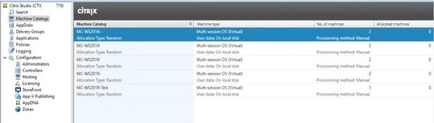 Machine Catalog Multiple