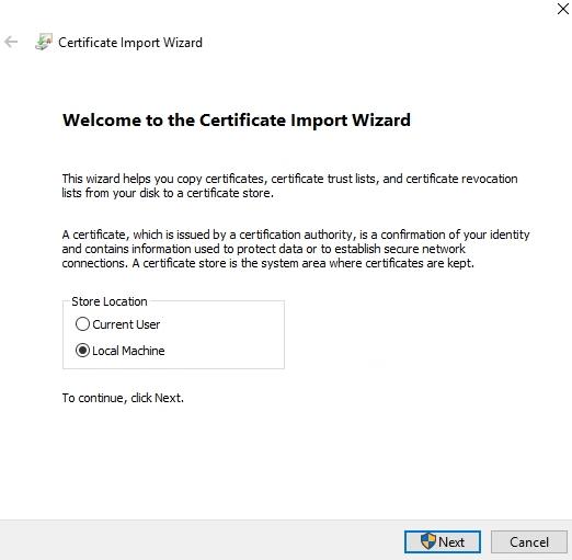 vSphere Root Certificate Import Local Machine