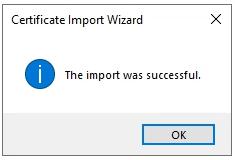 vSphere Root Certificate Import Succesful