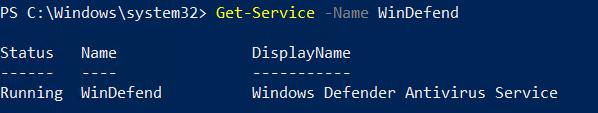 Get-Service -Name WinDefend