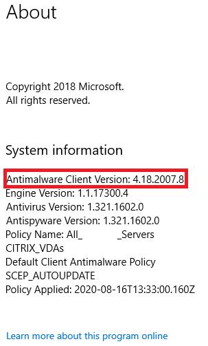 Windows Defender Antivirus version