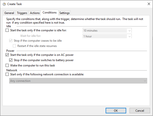 Windows Task Scheduler Conditions