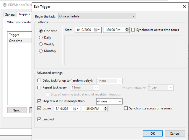 Windows Task Scheduler Trigger tab
