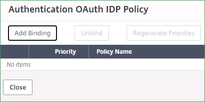 Authentication Virtual Server OAuth IDP Policy Binding 1