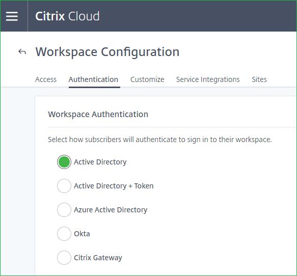 Citrix Workspace Authentication
