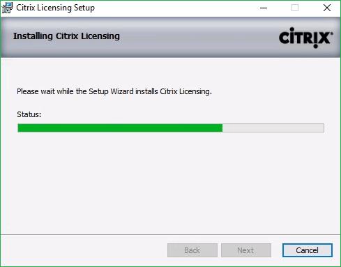 Citrix Licensing installation Progress
