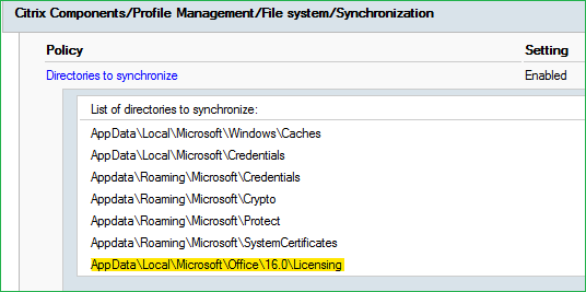 Directories to synchronize Citrix UPM group policy