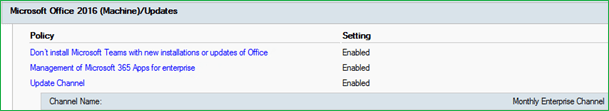 Group policy for Office 365 Update channel