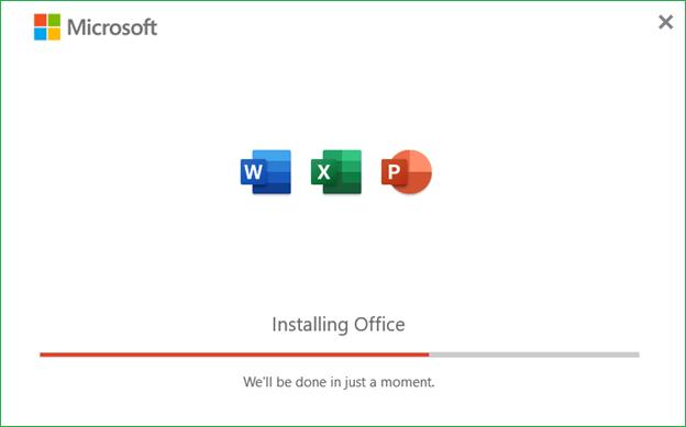 Office 365 Installation progress 1