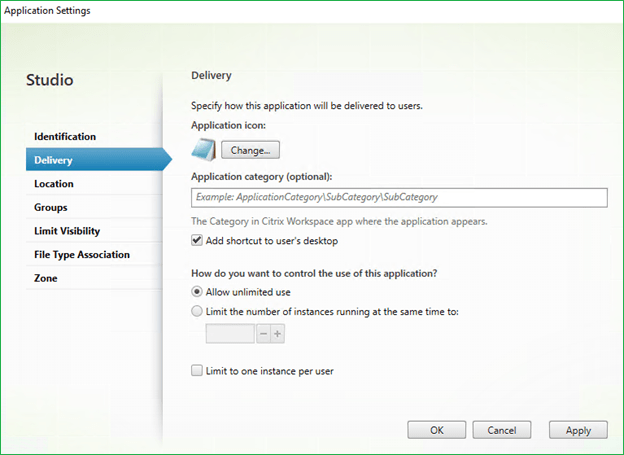 Limit to one instance per user - Citrix Application properties