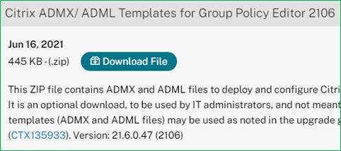 Citrix Workspace app current release admx adml files