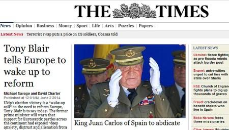 El Times recoge en portada la noticia de la abdicación del Rey