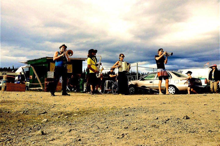 The Brass Knuckle band playing in Atlin, BC. Photo: Gurdeep Pandher