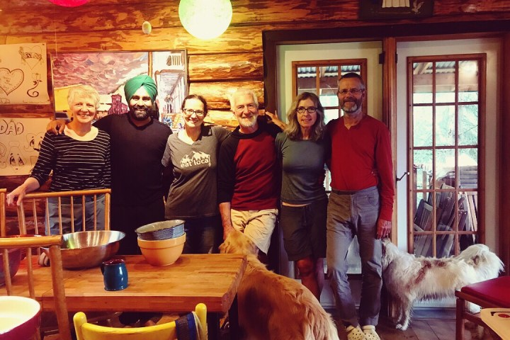 First We Eat mission: Dr. Suzanne Crocker,Miche Genest, Hector, Cindy, Arno, and two beautiful dogs.