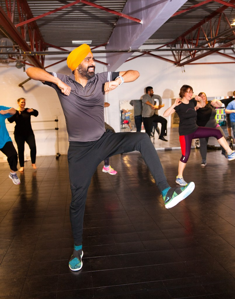 Gurdeep Pandher leads a Bhangra Dance workshop at the Squamish Dance Centre. Saturday, March 3, 2018. Photo by David Buzzard