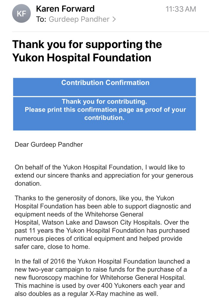 Donation to the Yukon Hospital Foundation