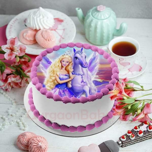 barbie unicorn birthday cake