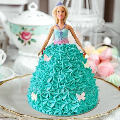 enchanting blue barbie cake