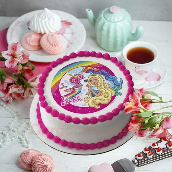 unicorn magic barbie cake