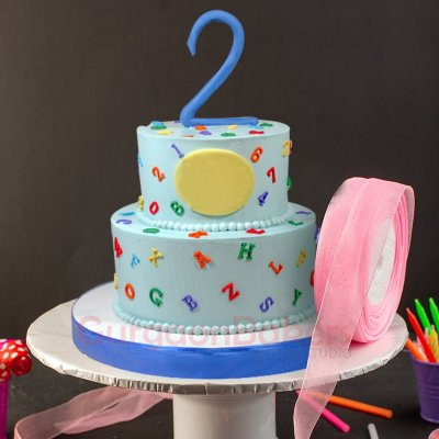 2 tier numbers and alphabets cake online order
