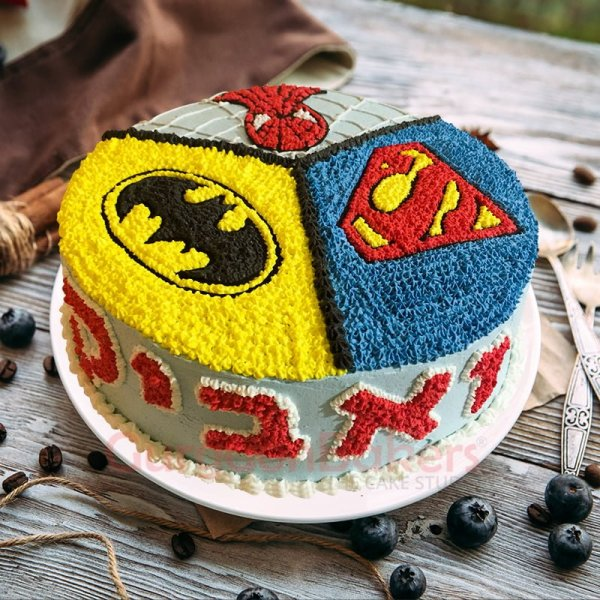 3 in 1 superhero cake