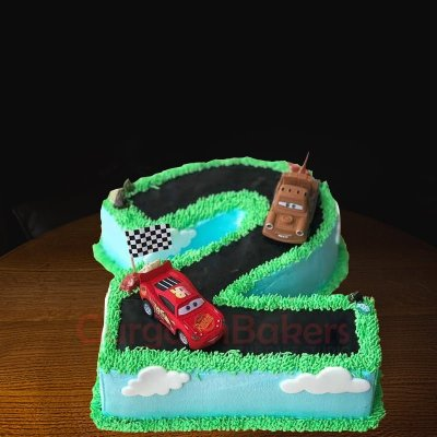 cars themed number cake
