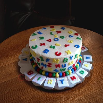 colourful alphabets cake