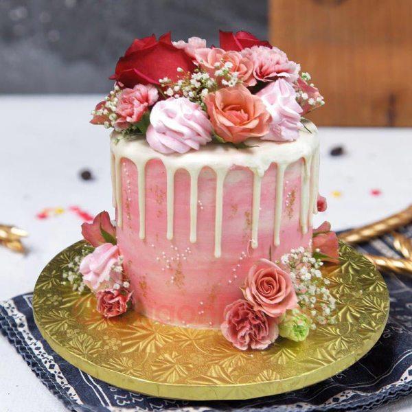 icing flower anniversary cake