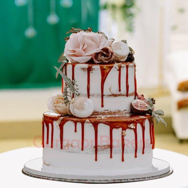 pink rose petals elegant wedding cake