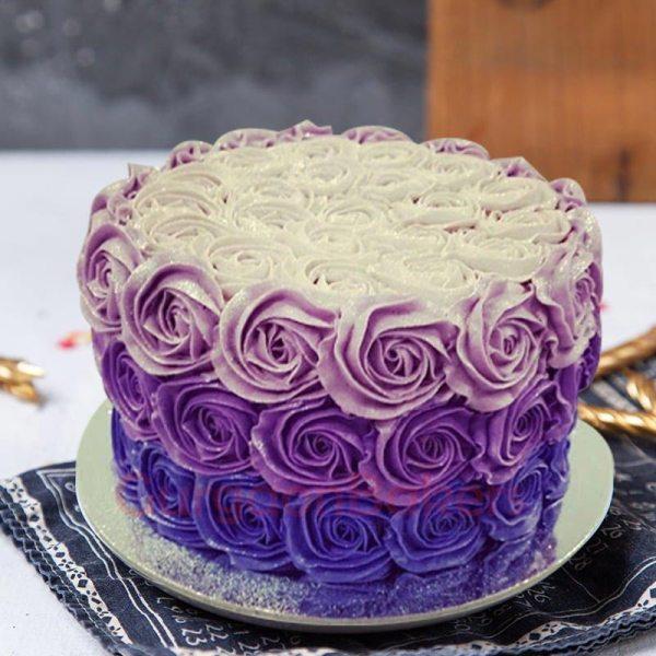 purple layer anniversary cake