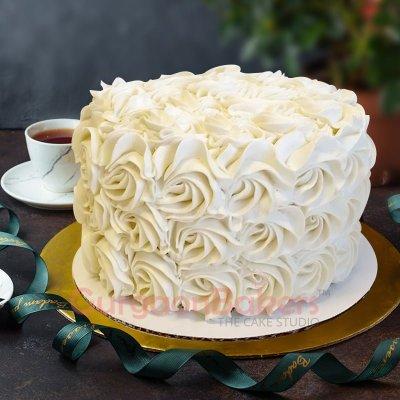 red velvet white rosette cake