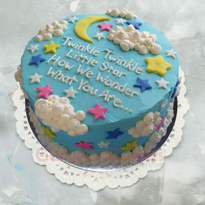 cute rhyme baby shower welcome cake for baby boy