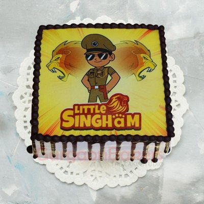 little singham colourful photo cake