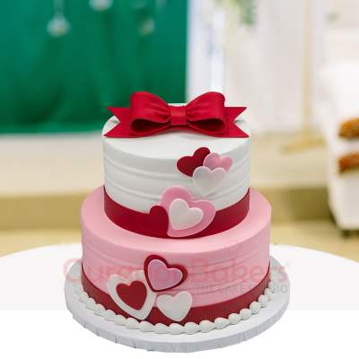 two tier ribbon cake