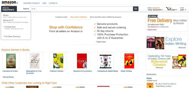 Debut of Amazon.in