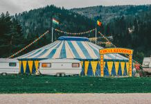 Travel Trailer in Front of Circus Tent