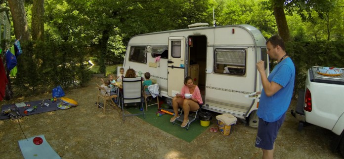 A dinner in a french campsite