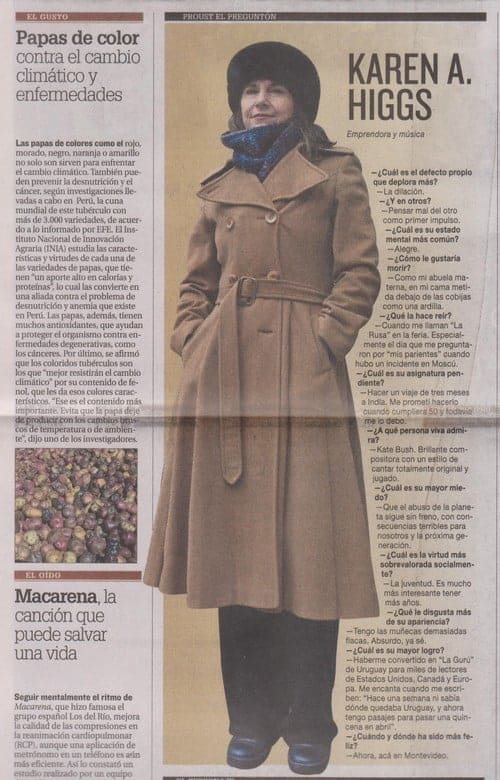 Karen A Higgs in El Pais, Uruguay's most read national newspaper